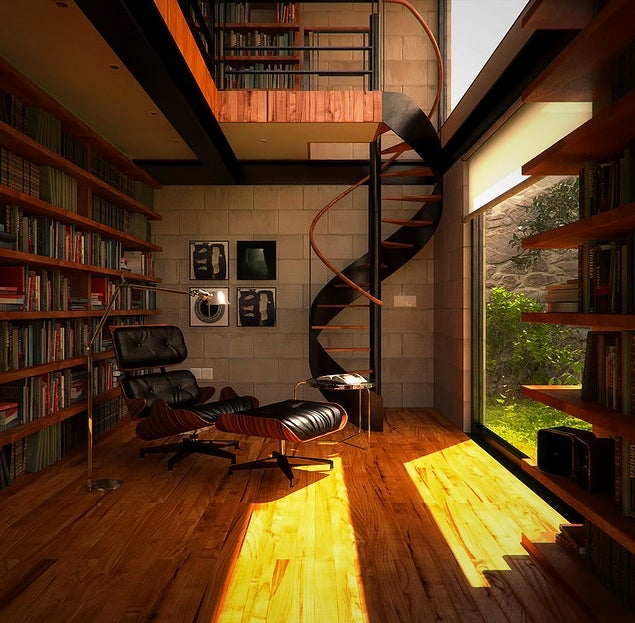 Library-overlooking-Garden-and-Spiral-Staircase