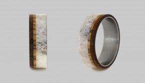 woodanddeerantlerweddingband