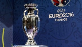 The European soccer championships trophy is put on display before a press conference to mark the hundred days to go before the start of Euro 2016 soccer tournament, in Paris, Wednesday, March 2, 2016. (AP Photo/Christophe Ena)