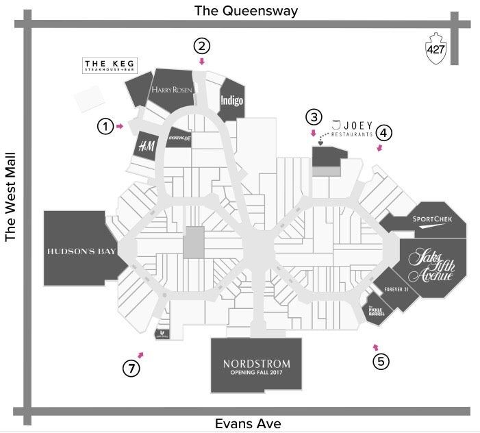 Sherway Gardens Mall Map - Nordstrom