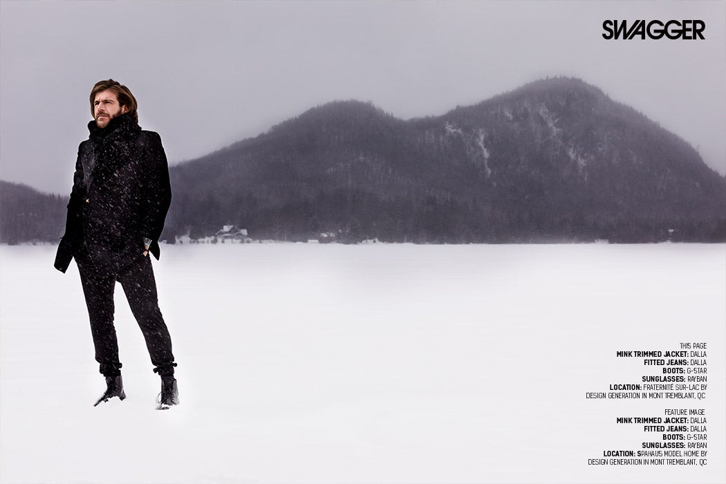 Carlo Rinomato - Standing on the frozen Lake in Mont-Tremblant, QC - SWAGGER Magazine