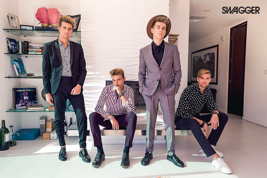 The Fourth Kingdom boy band, from left to right: Sebastian, Jaxon, Shane, and Kyle (Photo: Jose Manual Cruz/SWAGGER)