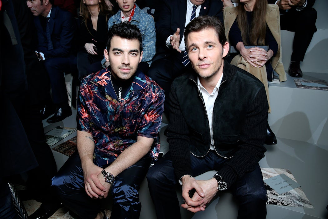Joe Jonas, and James Marsden front row at the Louis Vuitton Fall/Winter 2018 runway at Paris Fashion Week (Photo: Courtesy of LOUIS VUITTON) / SWAGGER Magazine