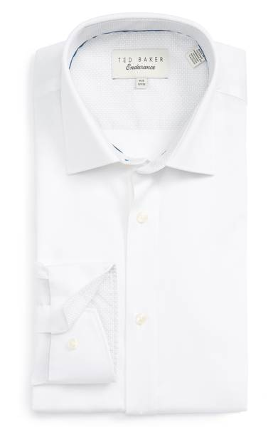 Ted Baker Caramor Trim Fit Solid Dress Shirt - Men's Staples / SWAGGER Magazine