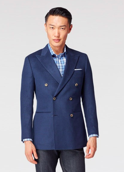 Indochino Indigo Geometric Blazer - Men's Staples / SWAGGER Magazine