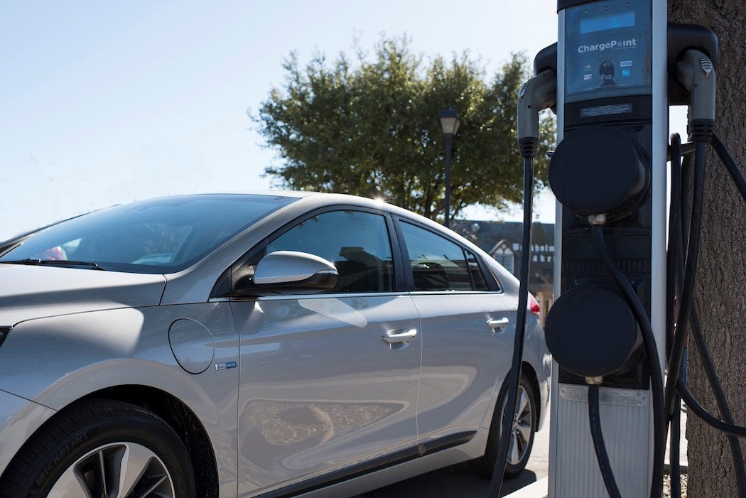 2017 IONIQ Plug-In Hybrid at Charging Station | SWAGGER