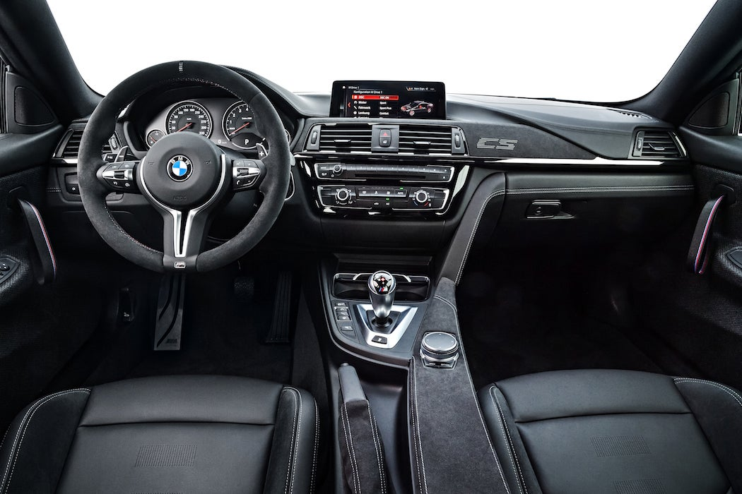 Black on black interior of the 2017 BMW M4 CS in Lime Rock Grey Metallic (Photo: Courtesy of BMW) | SWAGGER Magazine