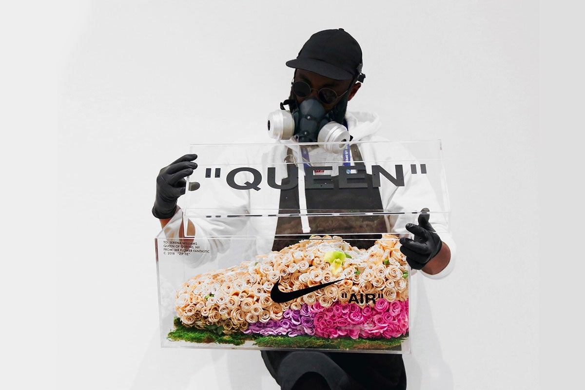 "Mr Flower Fantastic himself, seen here with the piece he created of the Serena Williams and Virgil Abloh's ""QUEEN"" Air Max 97 - Rosalyn Solomon for Swagger Magazine"