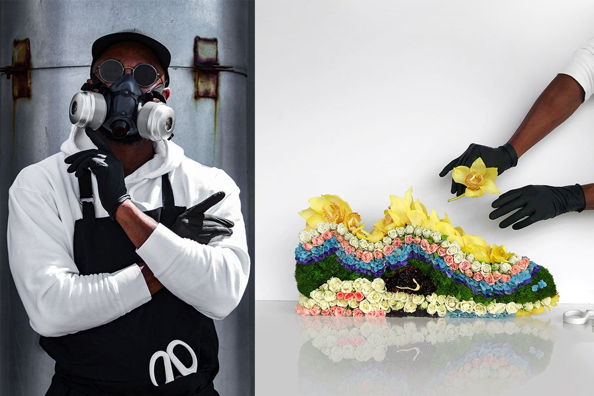 Mr Flower Fantastic concealing his identity with his gas mask, and a photo of his Sean Wotherspoon's Nike Air Max 1/97 flower creation - Rosalyn Solomon for Swagger Magazine