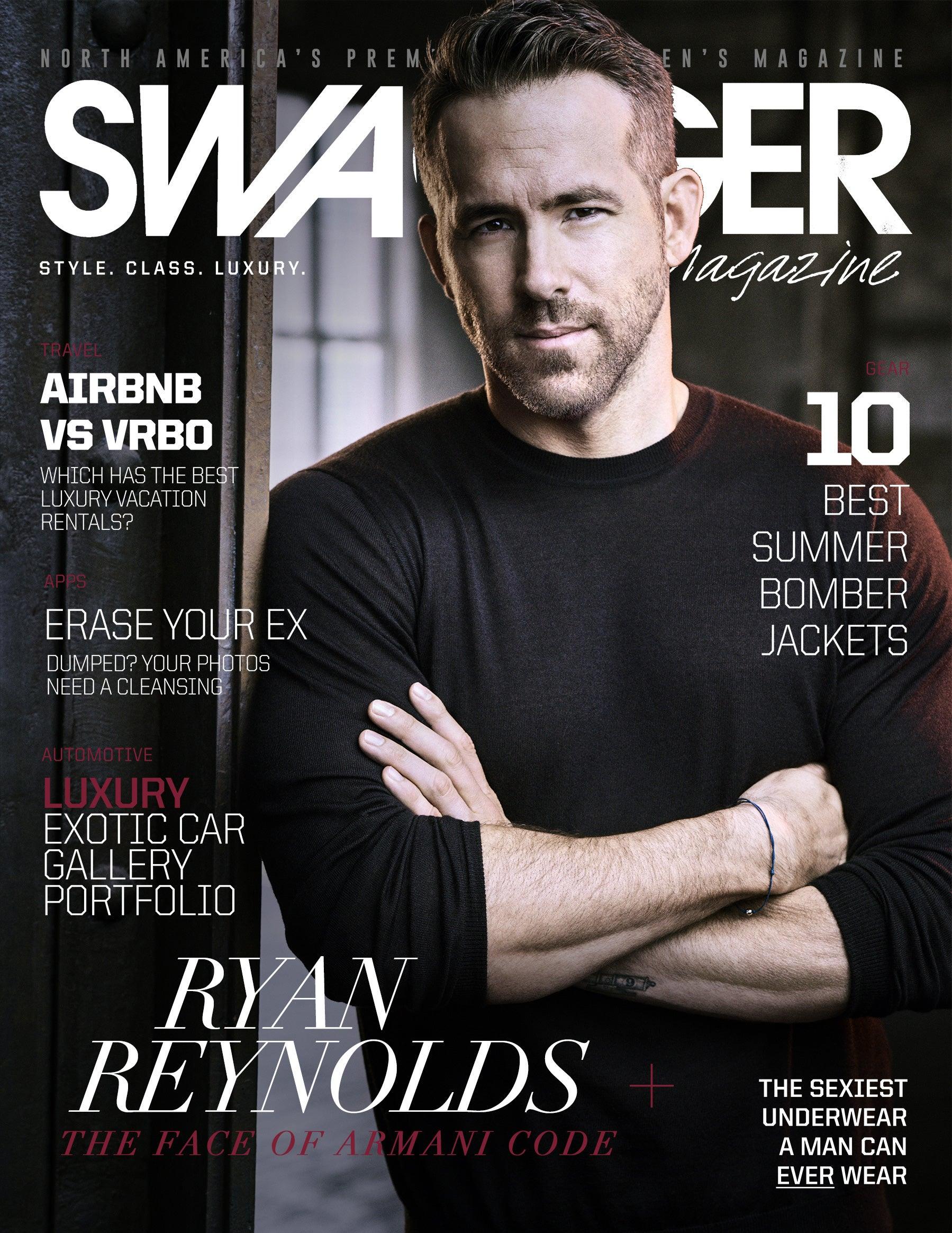 Ryan Reynolds Swagger Magazine Cover Armani Code Absolu