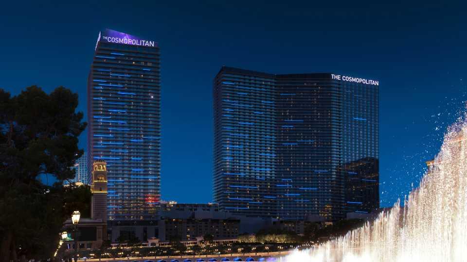 Exterior shot of the Cosmopolitan Hotel in Las Vegas