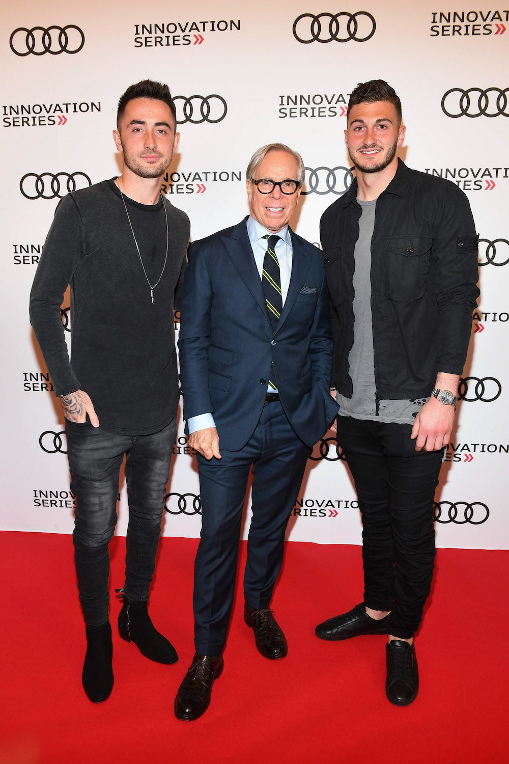 Toronto FC's Jay Chapman and Alex Bono with Tommy Hilfiger at the 3rd Annual Audi Innovation Series
