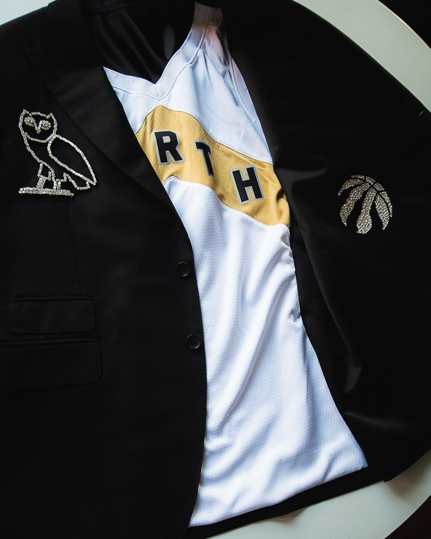 e915095c57a Garrison Bespoke Diamond Studded Suit Jacket for Drake from NBA Raptors