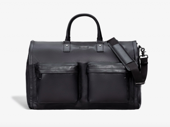 HOOK + ALBERT MEN'S BLACK LEATHER GARMENT WEEKENDER BAG