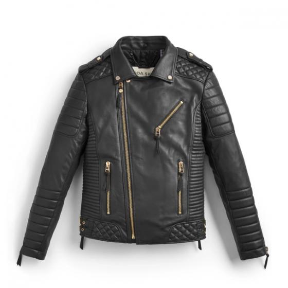 Bodaskins Kay Michaels Black Leather Jacket Gold Hardware