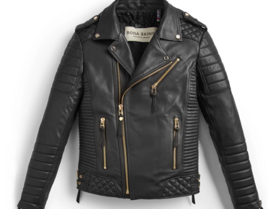 Bodaskins Kay Michaels Black Leather Jacket Gold Hardware