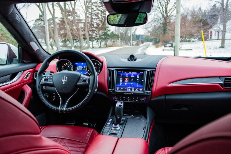 Infotainment System inside the 2019 Maserati Levante GTS in White with Red Interior