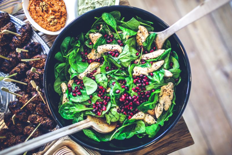 Spinach Chicken Pomegranate Salad